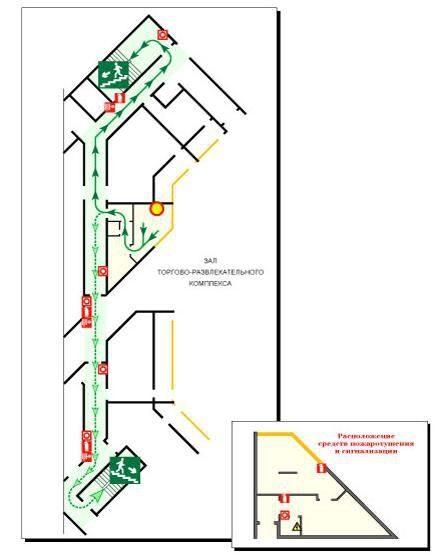 План эвакуации этажа в офисном
