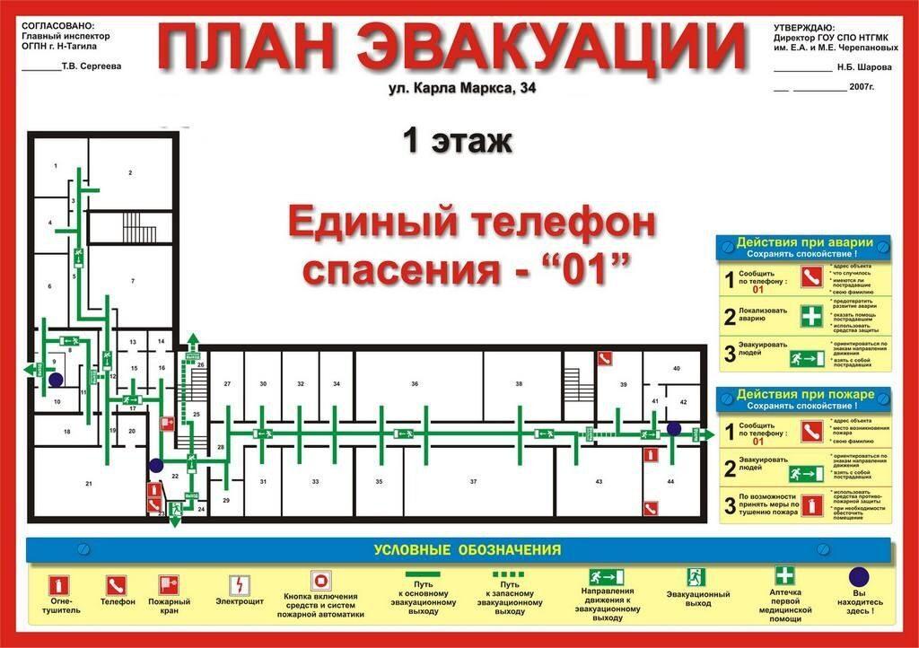 указаны пути эвакуации,